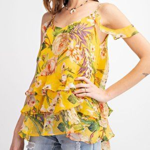 Easel Sunflower Cold Shoulder Print Top S NWT